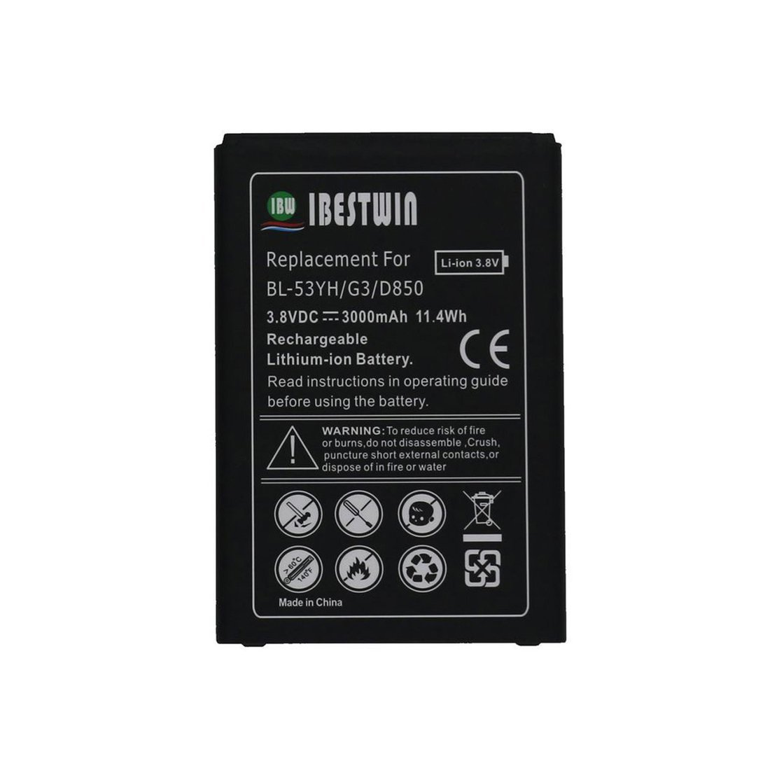 IBESTWIN G3 Battery Replacement for LG G3,D850(AT&T), D851(T-Mobile), LS990(Sprint), VS985(Version) (G3 3000mAh)